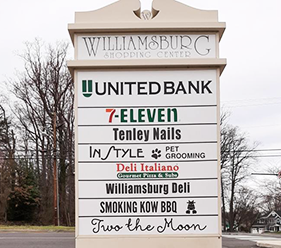 Sign listing stores at Williamsburg Shopping Center